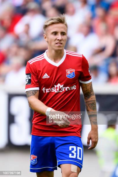 Luca Marseiler of Haching looks on during the 3 Liga match between KFC Uerdingen 05 and SpVgg Unterhaching at GrotenburgStadion on July 29 2018 in...