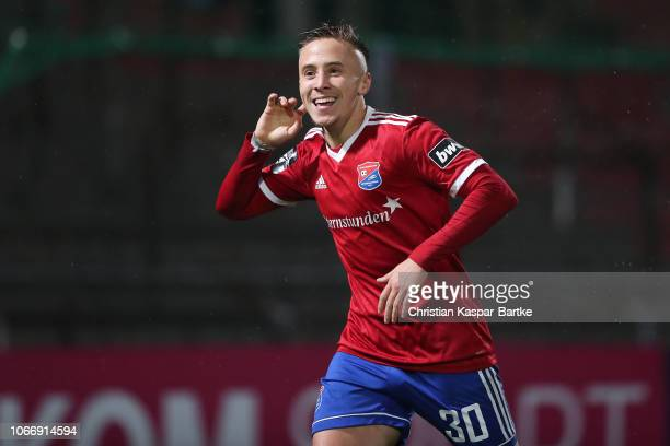 Luca Marseiler of SpVgg Unterhaching celebrates his team`s first goal during the 3 Liga match between SpVgg Unterhaching and 1 FC Kaiserslautern at...