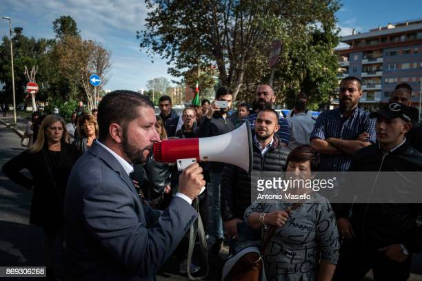 Luca Marsella candidate for the presidency of the Ostia's city hall for Casapound speaks with the residents during the protest against the evictions...