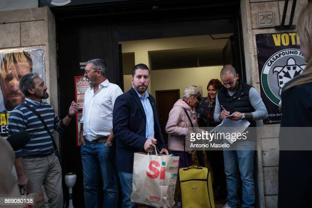 Luca Marsella Casapound candidate for the presidency of the Ostia's city hall hands up a food bag for Italian people with economic difficulties in...