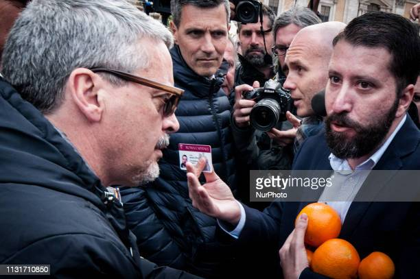 Luca Marsella of farright movement CasaPound protest in Rome Italy on March 20 2019 demanding the resignation of Mayor of Rome Virginia Raggi after...