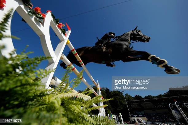 Luca Marziani of Italy riding Tokyo du Soleil competes during Day 4 of the Longines FEI Jumping European Championship 2nd part, team Jumping 1st...