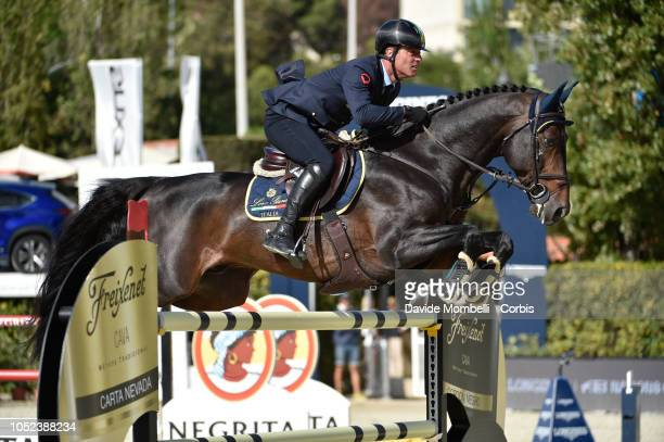 Luca Marziani of Italy riding Tokyo Du Soleil during Longines FEI Jumping Nations Cup Final Competition on October 7 2018 in Barcelona Spain