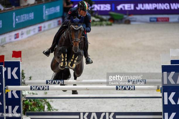 Luca Marziani of Italy riding Tokyo Du Soleil during the Longines FEI Jumping World Cup Verona 2018 CSI5*W on October 28 2018 in Verona Italy