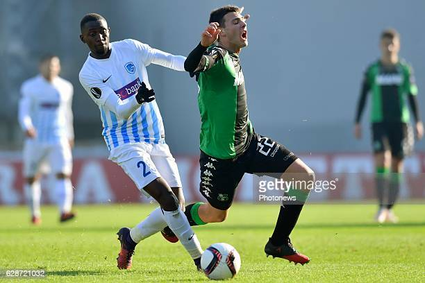 Luca Mazzitelli midfielder of US Sassuolo Calcio battles for the ball with Wilfried Ndidi midfielder of KRC Genk during the Europa League game...