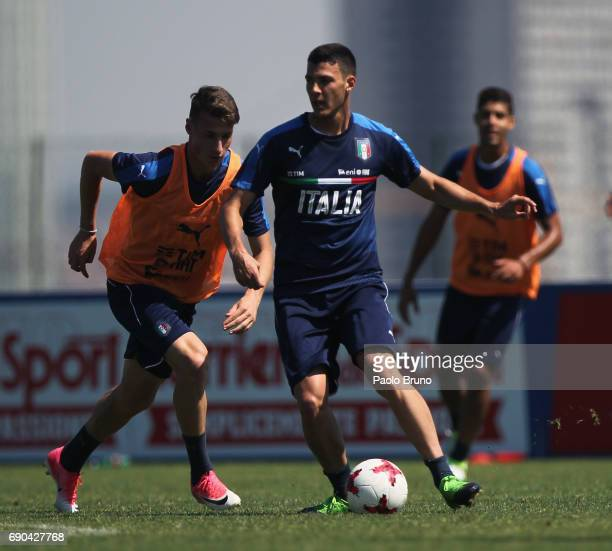 Luca Mazzitelli of Italy U21 in action during the Italy U21 training session at Mancini sport center on May 31 2017 in Rome Italy
