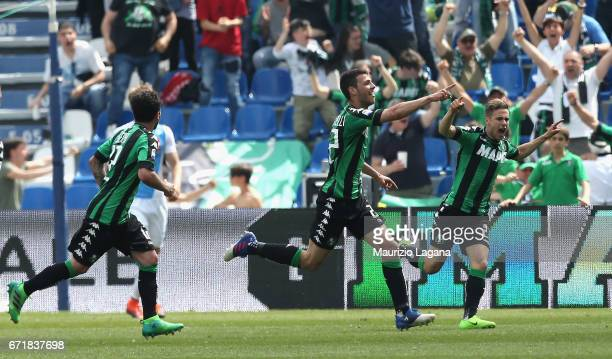 Luca Mazzitelli of Sassuolo celebrats his team's second goal during the Serie A match between US Sassuolo and SSC Napoli at Mapei Stadium Citta' del...