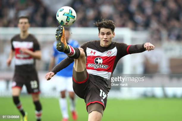 Luca Milan Zander of Pauli in action during the Second Bundesliga match between FC St Pauli and SV Darmstadt 98 at Millerntor Stadium on January 28...