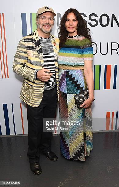 Luca Missoni and Guest attend the 'Missoni Art Colour' private view and dinner in partnership with Woolmark at The Fashion and Textile Museum on May...