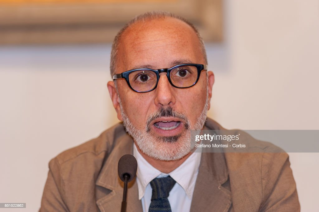 Luca Montuori, Councillor for Urban Planning present the project for the requalification of the former General Markets on September 22, 2017 in Rome, Italy. The project includes a public gallery, a new municipal library, a main course, three squares, an elderly centre, a conference room, a cinema, a sports area, a shopping area and an accommodation area with student buildings.