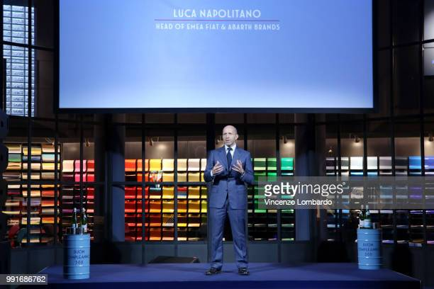 Luca Napolitano speaks on stage during HAPPY BIRTHDAY FIAT 500 Event in Milan on July 4 2018 in Milan Italy