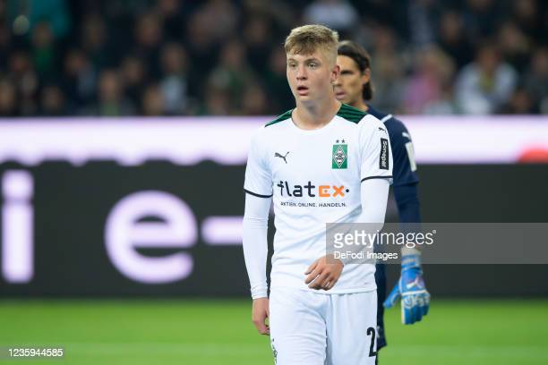 Luca Netz of Borussia Moenchengladbach looks on during the Bundesliga match between Borussia Mönchengladbach and VfB Stuttgart at Borussia-Park on...