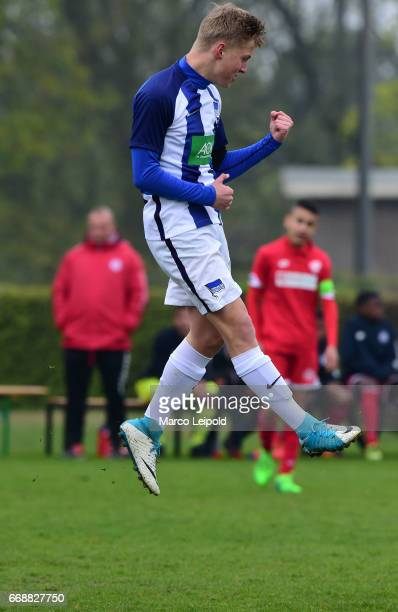 Luca Netz of Hertha BSC U14 celebrates the goal during the Nike Premier Cup 2017 on april 15 2017 in Berlin Germany