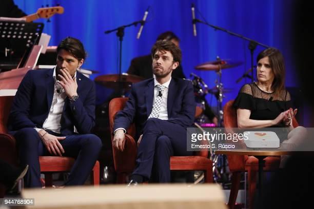 Luca Onestini Raffaele Tonon and Alessandra Pozzi attend Maurizio Costanzo Show on April 11 2018 in Rome Italy