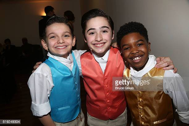 Luca Padovan Joshua Colley and Douglas Baldeo pose at the MCC Theater Company's Miscast 2016 Gala at The Hammerstein Ballroom on April 4 2016 in New...
