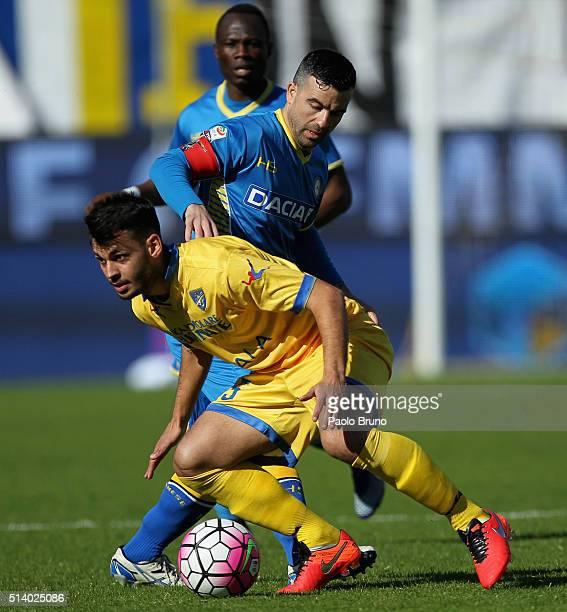 Luca Paganini of Frosinone Calcio competes for the ball with Antonio Di Natale of Udinese Calcio during the Serie A match between Frosinone Calcio...