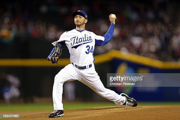 Luca Panerati of Italy throws a pitch in the first inning against USA during the World Baseball Classic First Round Group D game at Chase Field on...