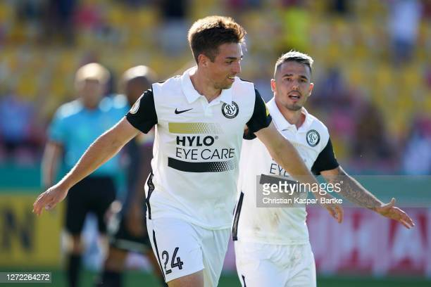 Luca Pascal Schnellbacher of SV Elversberg celebrates after scoring his team's fourth goal during the DFB Cup first round match between SV Elversberg...