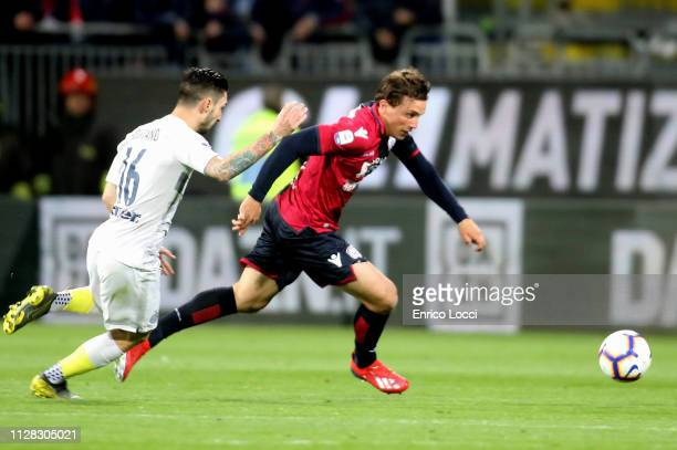Luca Pellegrini of Cagliari in action during the Serie A match between Cagliari and FC Internazionale at Sardegna Arena on March 1 2019 in Cagliari...