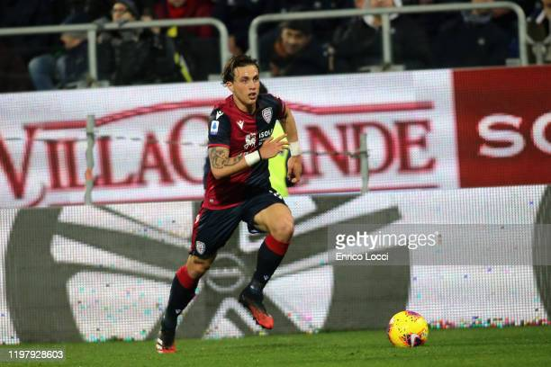 Luca Pellegrini of Cagliari in action during the Serie A match between Cagliari Calcio and Parma Calcio at Sardegna Arena on February 1 2020 in...