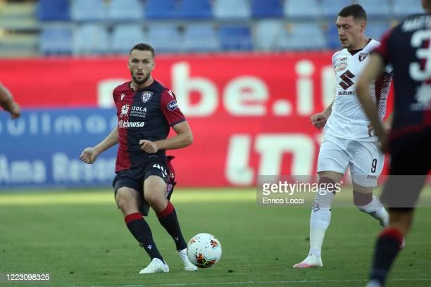 Luca Pellegrini of Cagliari in action during the Serie A match between Cagliari Calcio and Torino FC at Sardegna Arena on June 27 2020 in Cagliari...