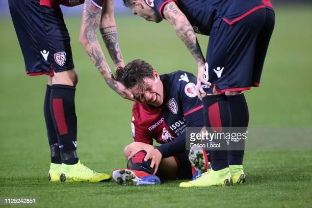 Luca Pellegrini of Cagliari injured during the Serie A match between Cagliari and Parma Calcio at Sardegna Arena on February 16 2019 in Cagliari Italy