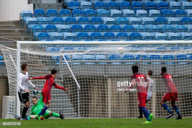 Luca Plogmann of Germany U17 concedes a goal during the U17 Algarve Cup Tournament Match between England U17 and Germany U17 on February 12 2017 in...