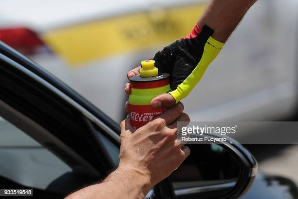Luca Raggio of Wilier TriestinaSelle Italia grabs a bottle during Stage 1 of the Le Tour de Langkawi 2018 KangarKulim 1479 km on March 18 2018 in...