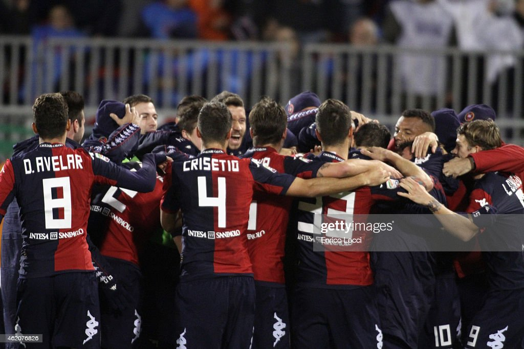 Luca Rossettini of Cagliari celebrated the goal whith the team-mates during the Serie A match between Cagliari Calcio and US Sassuolo Calcio at Stadio Sant'Elia on January 24, 2015 in Cagliari, Italy.