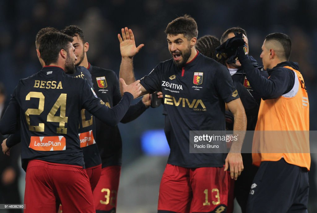 Luca Rossettini #13 with his teammates of Genoa celebrate the victory after the Serie A match between SS Lazio and Genoa at Stadio Olimpico on February 5, 2018 in Rome, Italy.