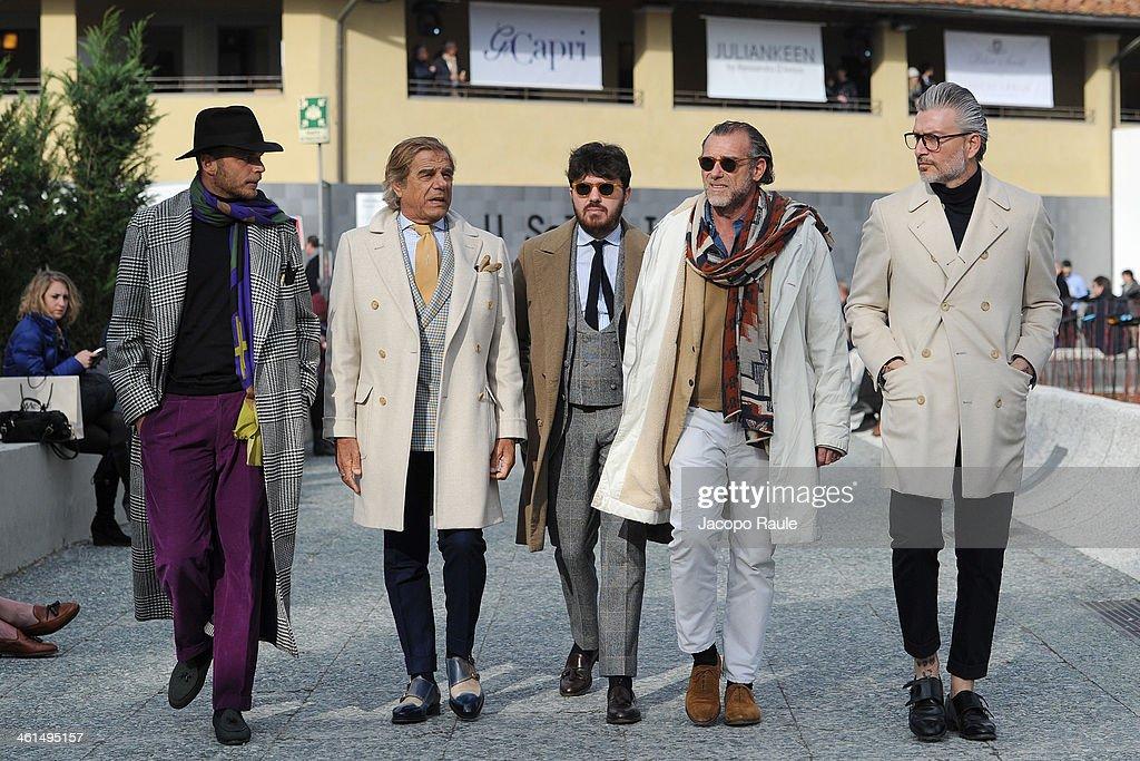 Luca Rubinacci, Lino Ieluzzi and Alessandro Squarzi are seen Pitti Immagine Uomo 85 on January 9, 2014 in Florence, Italy.