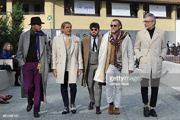Luca Rubinacci Lino Ieluzzi and Alessandro Squarzi are seen Pitti Immagine Uomo 85 on January 9 2014 in Florence Italy