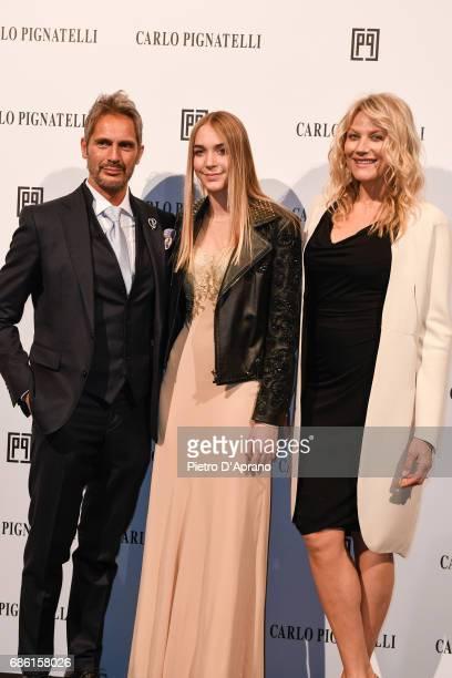 Luca Sabbioni Sacha Sabbioni Natasha Stefanenko attends the Carlo Pignatelli Haute Couture fashion show on May 20 2017 in Milan Italy