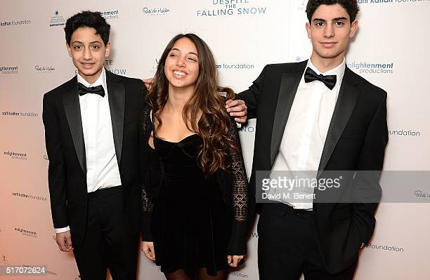 Luca SarifKattan Ariella Tchenguiz and Ethan SarifKattan attend a special Charity Premiere of 'Despite The Falling Snow' in aid of the Nelson Mandela...