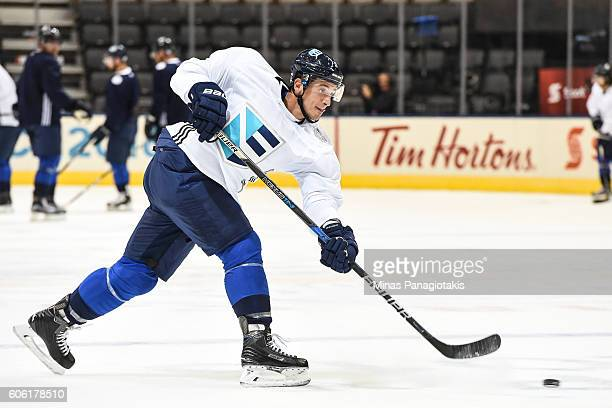 Luca Sbisa of Team Europe takes a shot during practice at the World Cup of Hockey 2016 at Air Canada Centre on September 16 2016 in Toronto Ontario...