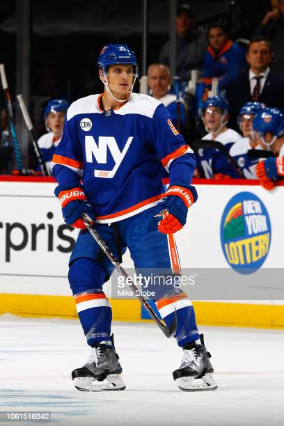 Luca Sbisa of the New York Islanders skates against the Vancouver Canucks at Barclays Center on November 13 2018 the Brooklyn borough of New York...