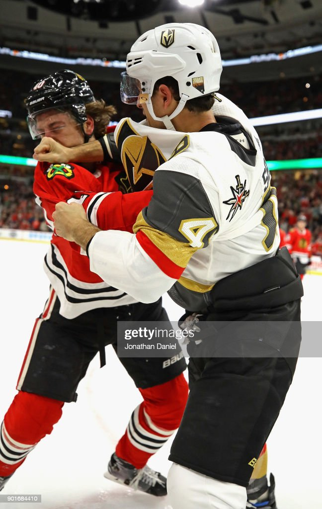 Luca Sbisa #47 of the Vegas Golden Knights and John Hayden #40 of the Chicago Blackhawks fight in the second period at the United Center on January 5, 2018 in Chicago, Illinois.
