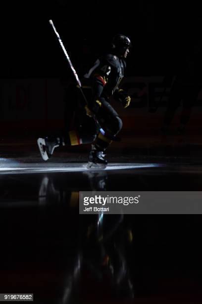 Luca Sbisa of the Vegas Golden Knights makes his way onto the ice prior to the game against the Montreal Canadiens at TMobile Arena on February 17...