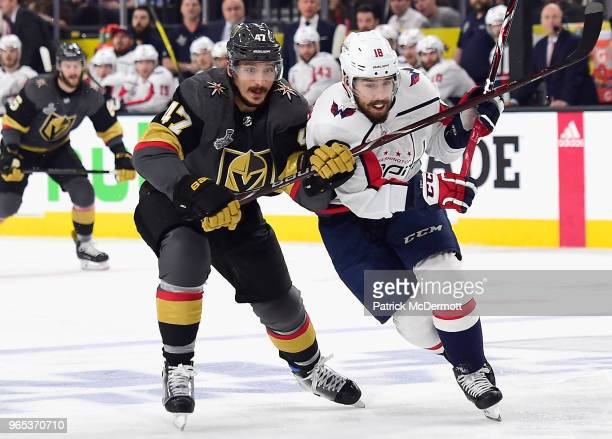 Luca Sbisa of the Vegas Golden Knights plays against Chandler Stephenson of the Washington Capitals during Game Two of the 2018 NHL Stanley Cup Final...