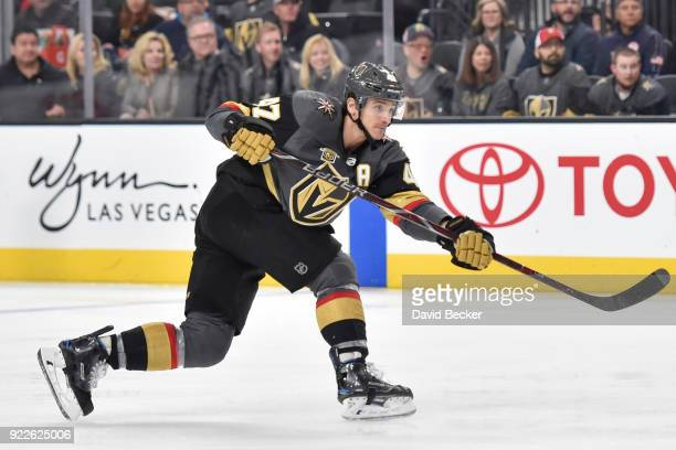 Luca Sbisa of the Vegas Golden Knights scores a goal against the Calgary Flames during the game at TMobile Arena on February 21 2018 in Las Vegas...