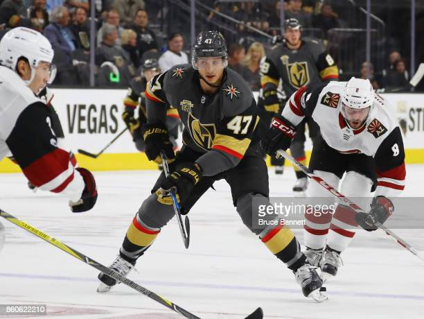 Luca Sbisa of the Vegas Golden Knights skates against the Arizona Coyotes during the Golden Knights' inaugural regularseason home opener at TMobile...
