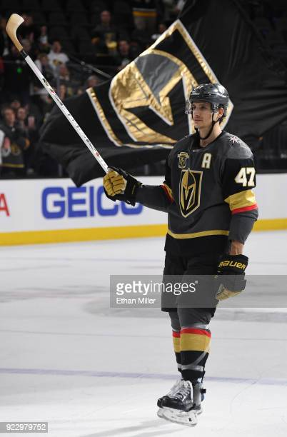 Luca Sbisa of the Vegas Golden Knights skates on the ice after being named the third star of the game following the team's 73 victory over the...