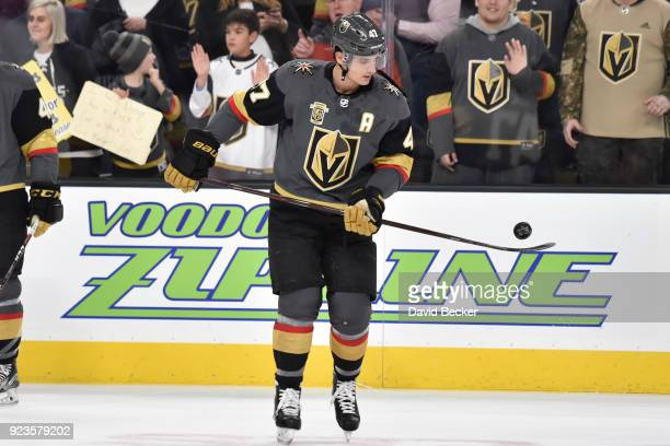 Luca Sbisa of the Vegas Golden Knights warms up prior to the game against the Vancouver Canucks at TMobile Arena on February 23 2018 in Las Vegas...