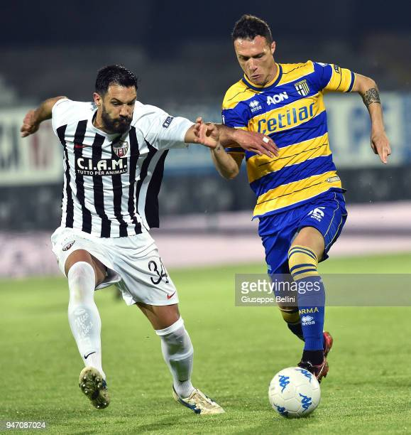 Luca Siligardi' of Parma Calcio and Emanuele Padella of Ascoli Pichhio in action during the match between Ascoli Picchio and Parma Calcio at Stadio...
