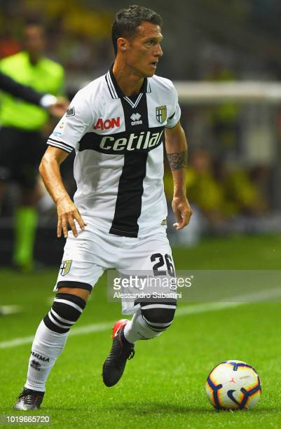 Luca Silingardi of Parma Calcio in action during the serie A match between Parma Calcio and Udinese at Stadio Ennio Tardini on August 19 2018 in...