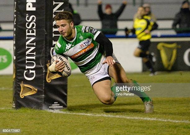 Luca Sperandio of Benetton Treviso through to score the second try during the Guinness Pro 12 match between Benetton Treviso and Zebre Rugby at...