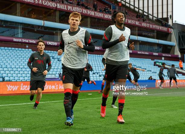 Luca Stephenson and James Balagizi of Liverpool during the warm-up before the FA Youth Cup Final at Villa Park on May 24, 2021 in Birmingham, England.