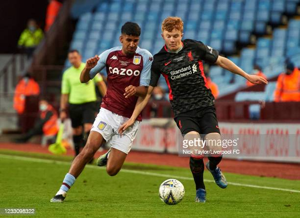 Luca Stephenson of Liverpool and Ben Chrisene of Aston Villa in action during the FA Youth Cup Final between Aston Villa U18 and Liverpool U18, at...