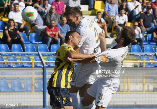 Luca Strizzolo of Pordenone vies with Roberto Vitiello of Juve Stabia during the Serie B match between Juve Stabia and Pordenone on October 19 2019...