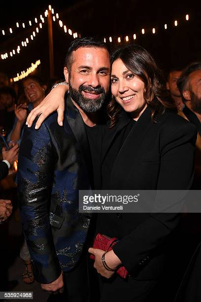 Luca Tommassini and Eleonora Pratelli attend Dsquared2 Dinner Party on May 30 2016 in Rome Italy